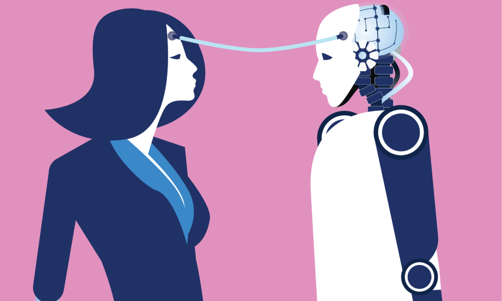 Female Employee does a mind-meld with an A.I. robot