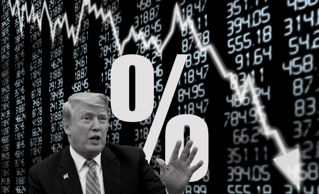Yields-Send-StockMarket-Down Trump with yield symbol and stock chart collage