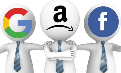 Amazon Google and Facebook Heads with Logos