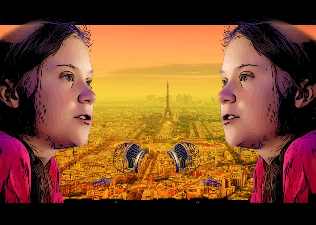 Graphic of Greta Thunberg