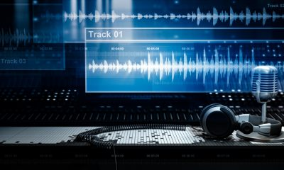 Recording Studio and Sound Wave Forms Adobe Stock