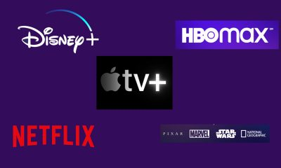Graphic Collage of Streaming Platform Logos Streaming Wars Netflix, Apple TV plus