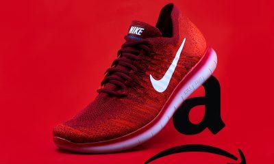 Nike Shoe steps on Sad Amazon Logo