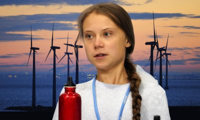 Greta Thunberg with Windmill backdrop