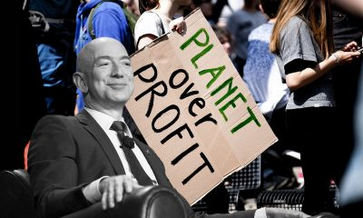 Amazon CEO Jeff Bezos and Climate Protesters