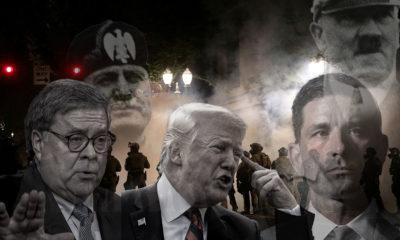 Trump, Barr, Hitler, Mussolini, Portland